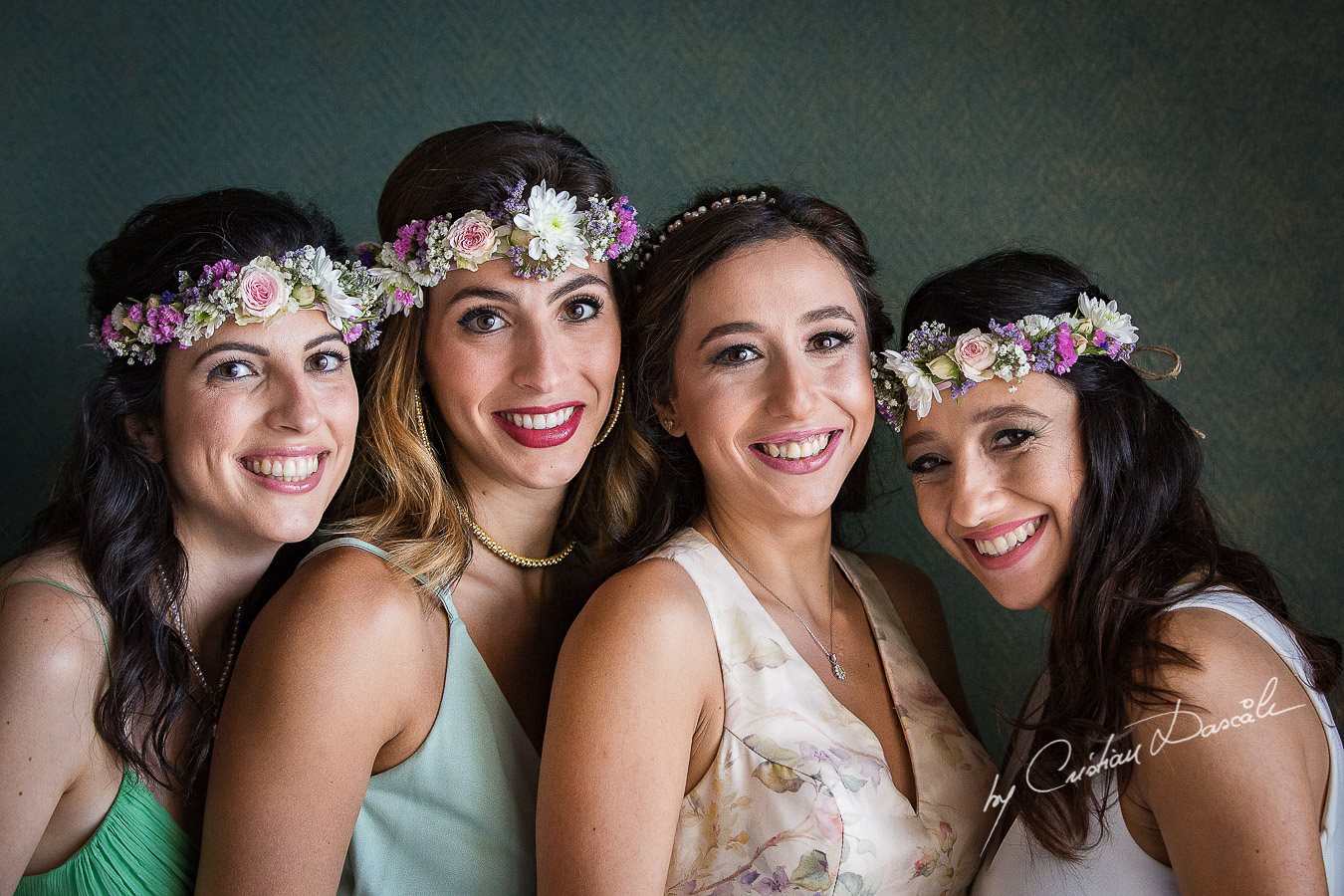 The Bride and her bridesmaids posing during getting ready as part of an Exclusive Wedding photography at Grand Resort Limassol, captured by Cyprus Wedding Photographer Cristian Dascalu.
