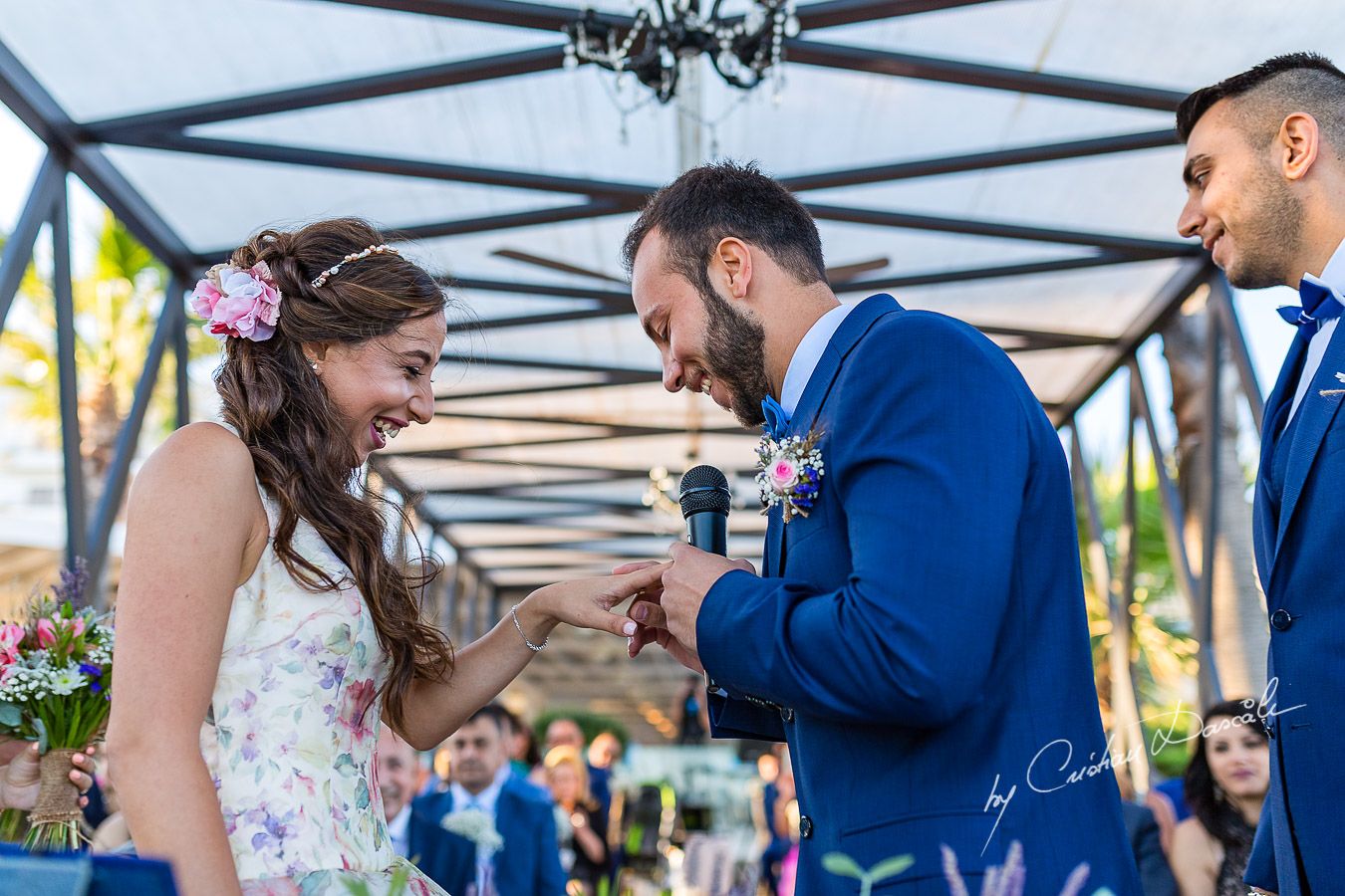 Unique moments with the bride and groom during the ceremony, as part of an Exclusive Wedding photography at Grand Resort Limassol, captured by Cyprus Wedding Photographer Cristian Dascalu.