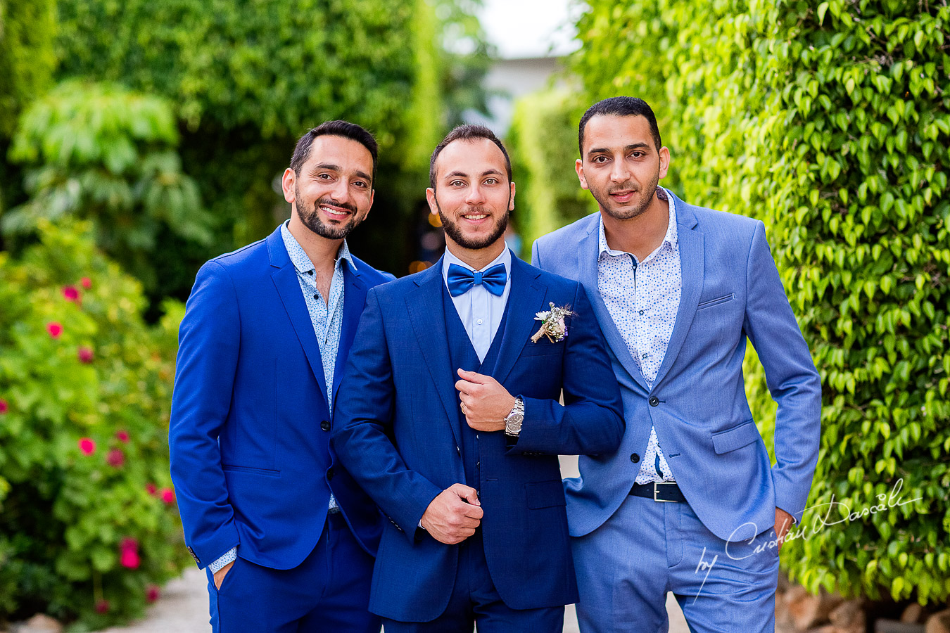 Portrait with the groom and his friends photographed as part of an Exclusive Wedding photography at Grand Resort Limassol, captured by Cyprus Wedding Photographer Cristian Dascalu.