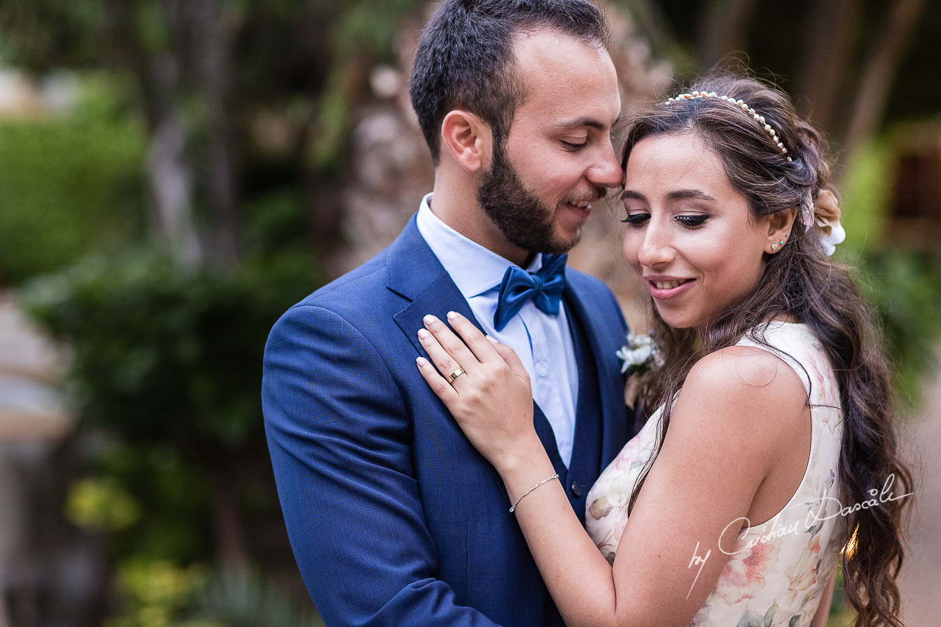 Portrait with the bride and groom photographed as part of an Exclusive Wedding photography at Grand Resort Limassol, captured by Cyprus Wedding Photographer Cristian Dascalu.