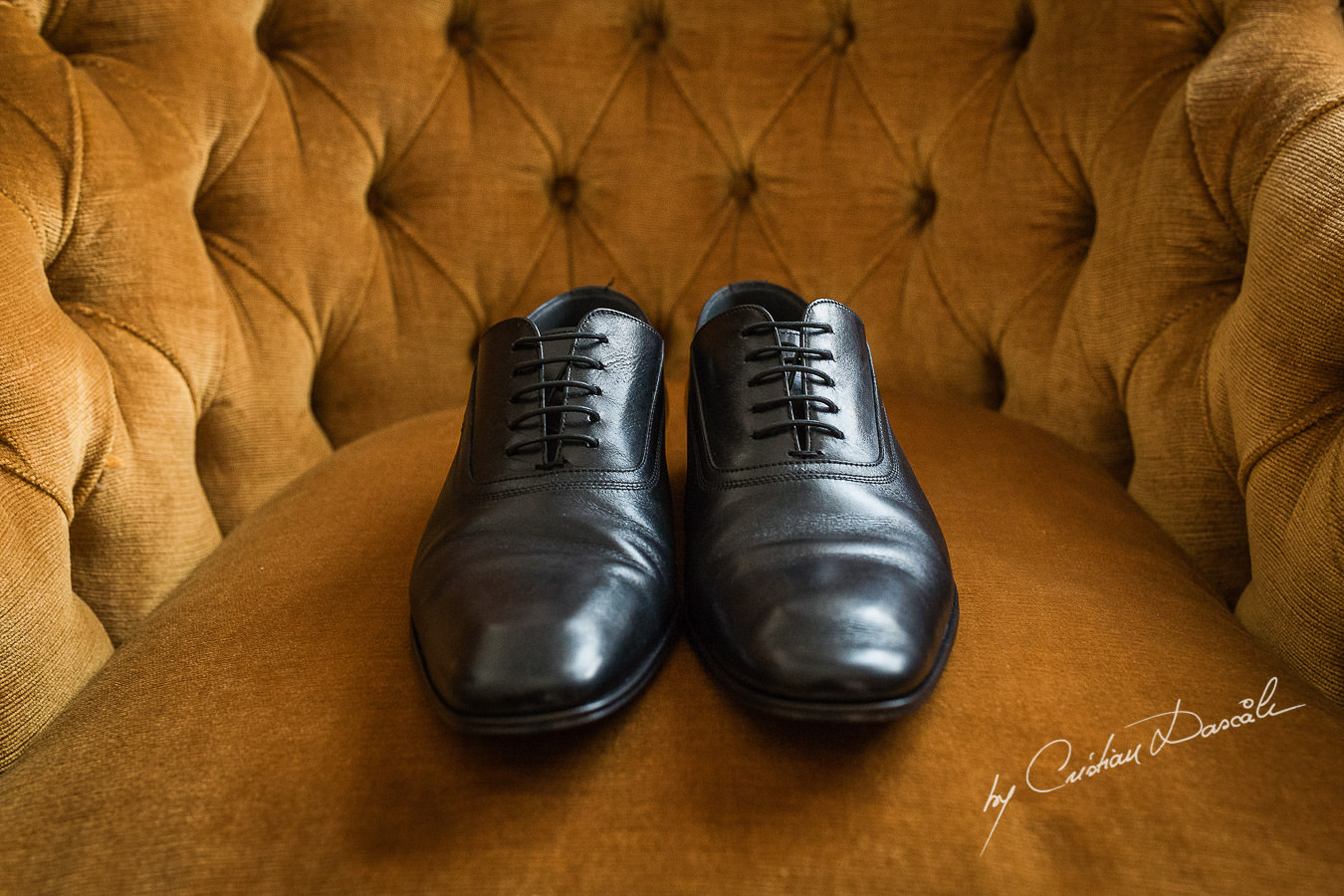 Groom's shoes captured at a wedding in Cyprus by Photographer Cristian Dascalu.