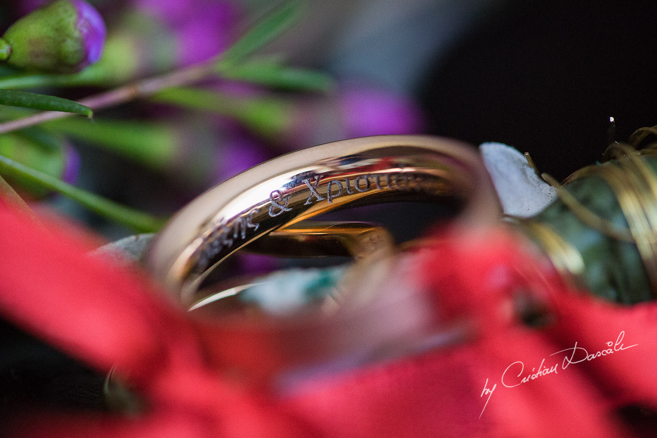 Wedding rings details, captured at a wedding in Cyprus by Photographer Cristian Dascalu.