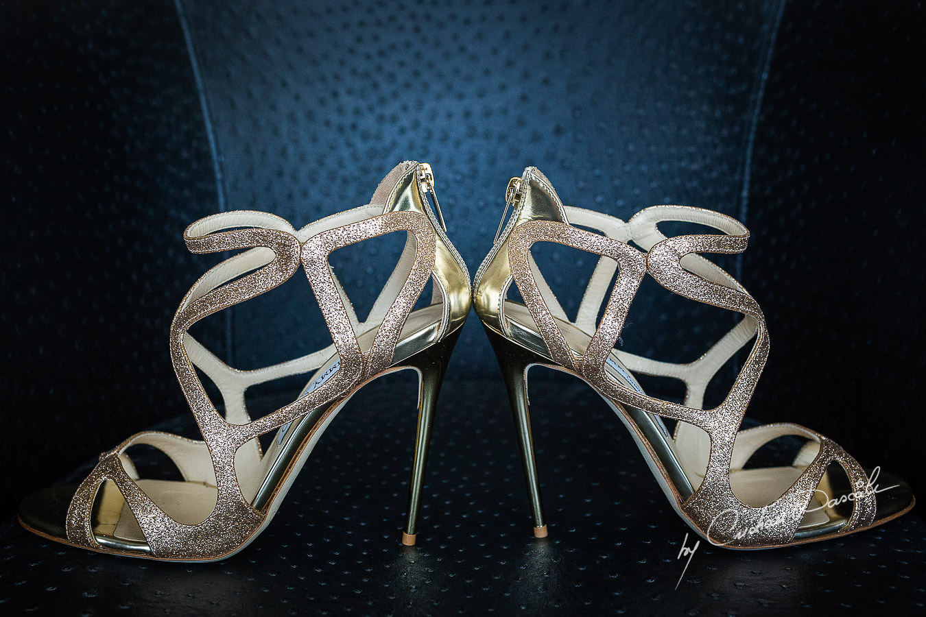 Jimmy Choo bridal shoes details, captured at a wedding in Cyprus by Photographer Cristian Dascalu.
