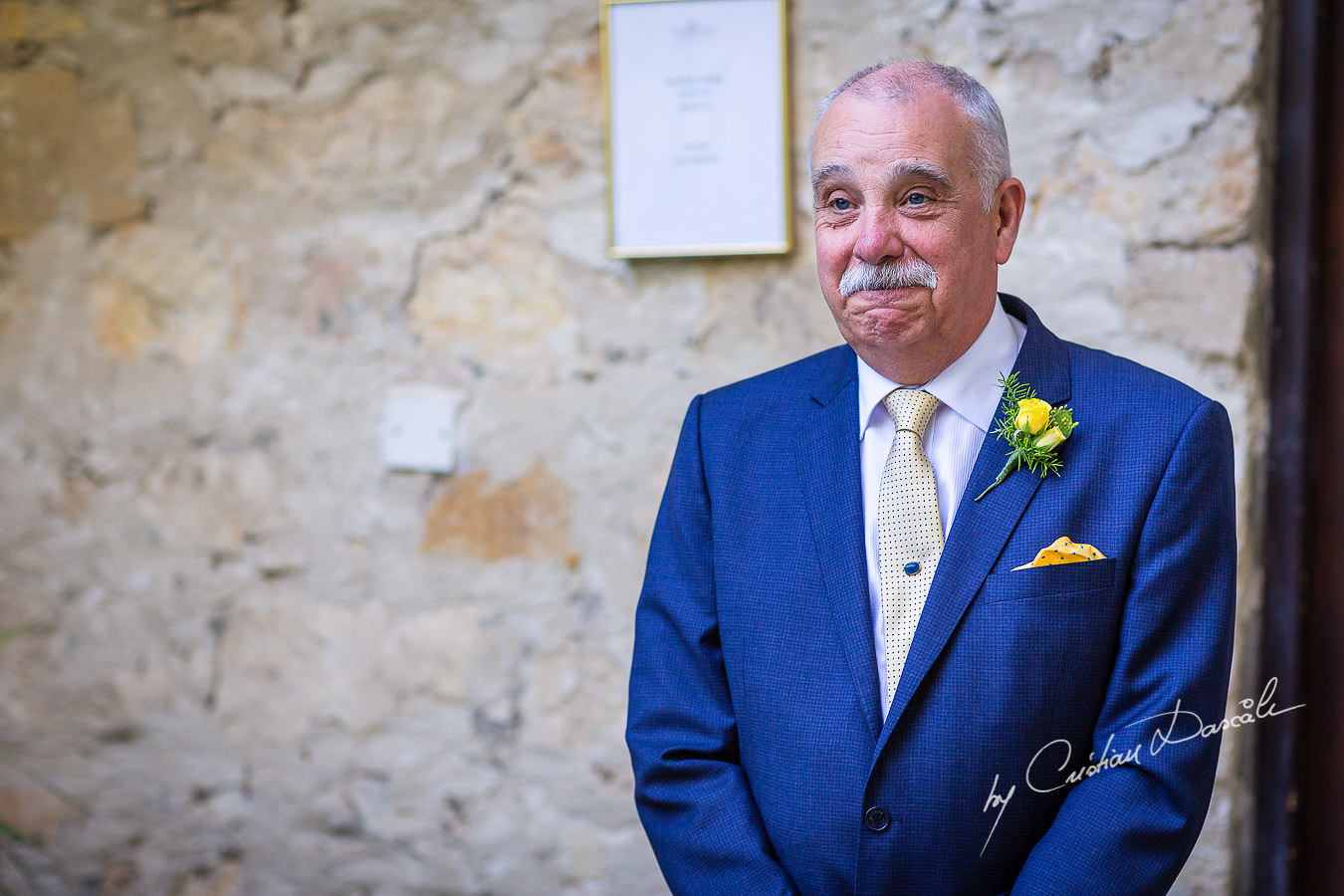 A beautiful wedding day at the Vasilias Nikoklis Inn in Paphos, captured by Cristian Dascalu. The father of the bride is overwhelmed by emotions.