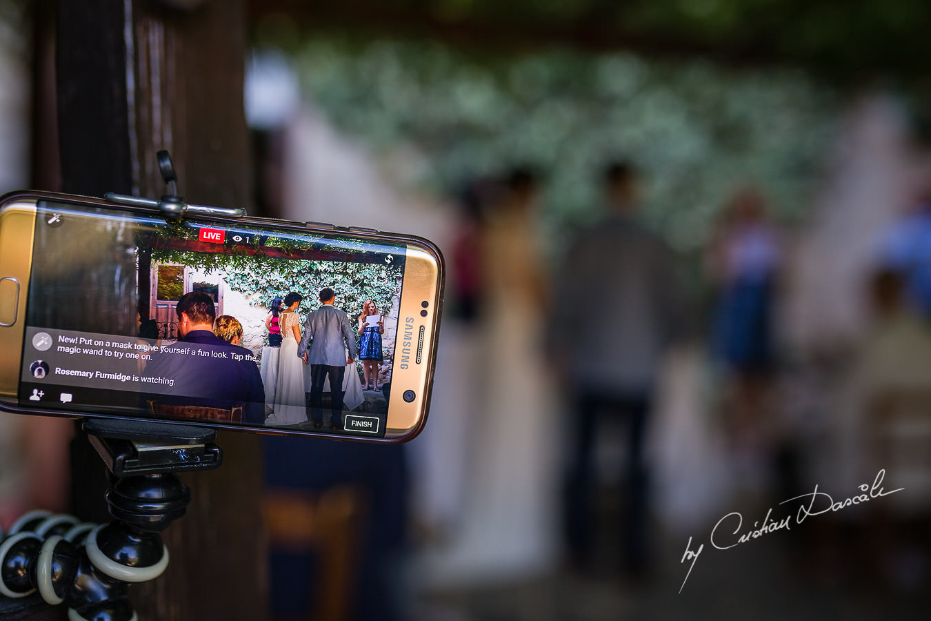 A beautiful wedding day at the Vasilias Nikoklis Inn in Paphos, captured by Cristian Dascalu. The grandmother of the groom is watching the ceremony live on Facebook.