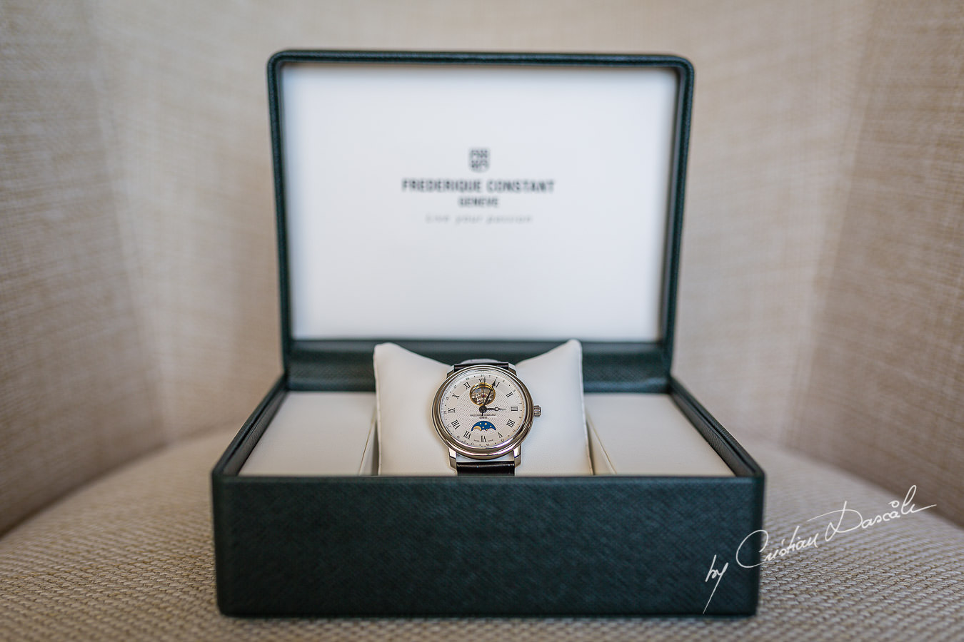 Groom's watch Frederique Constant photographed by Cristian Dascalu at Athena Beach Hotel in Paphos, Cyprus, during a symbolic wedding.