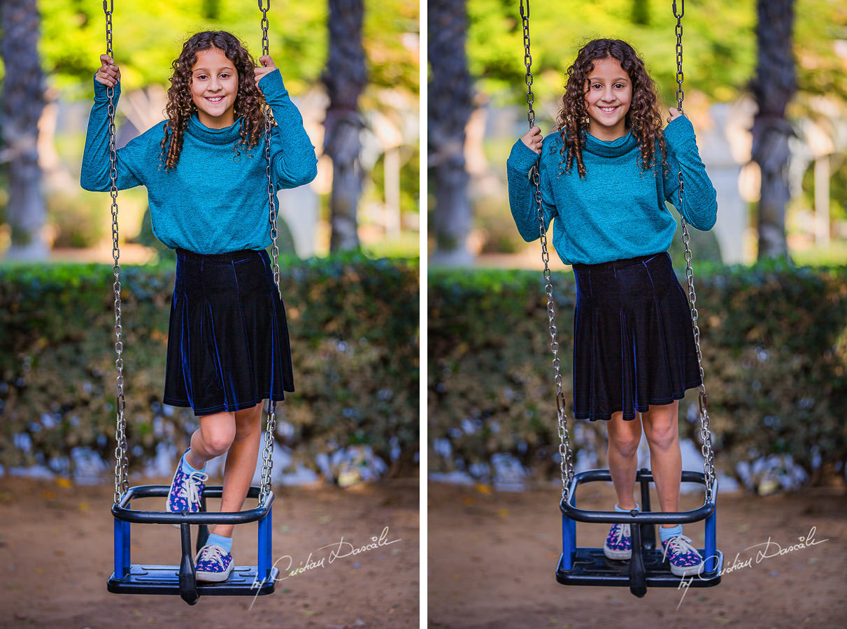 Beautiful young lady in the swing, moments captured by Cristian Dascalu during a beautiful Limassol family photography photo session.