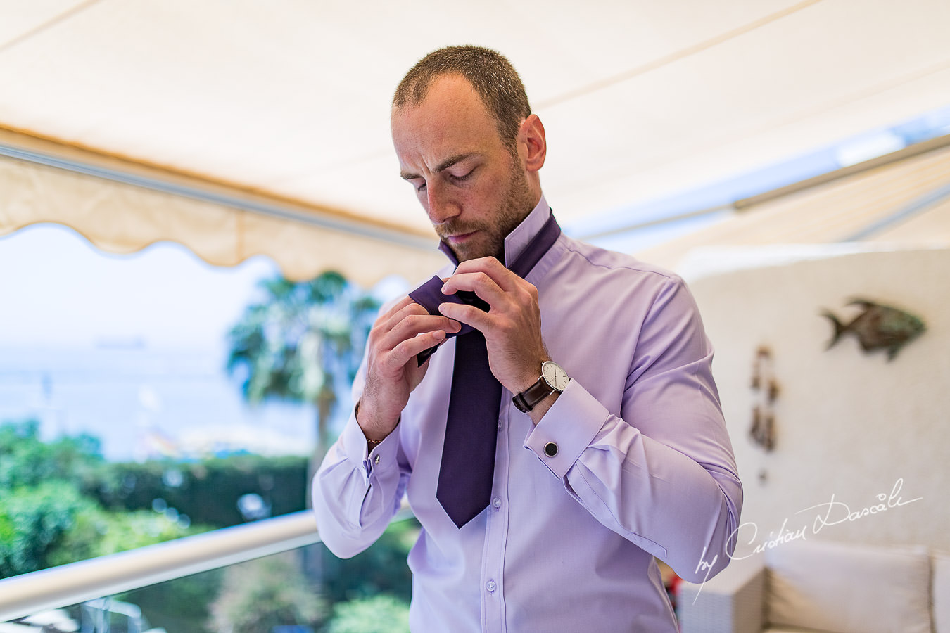 Niels, the groom, photographed during his preparations by Cyprus Photographer Cristian Dascalu.