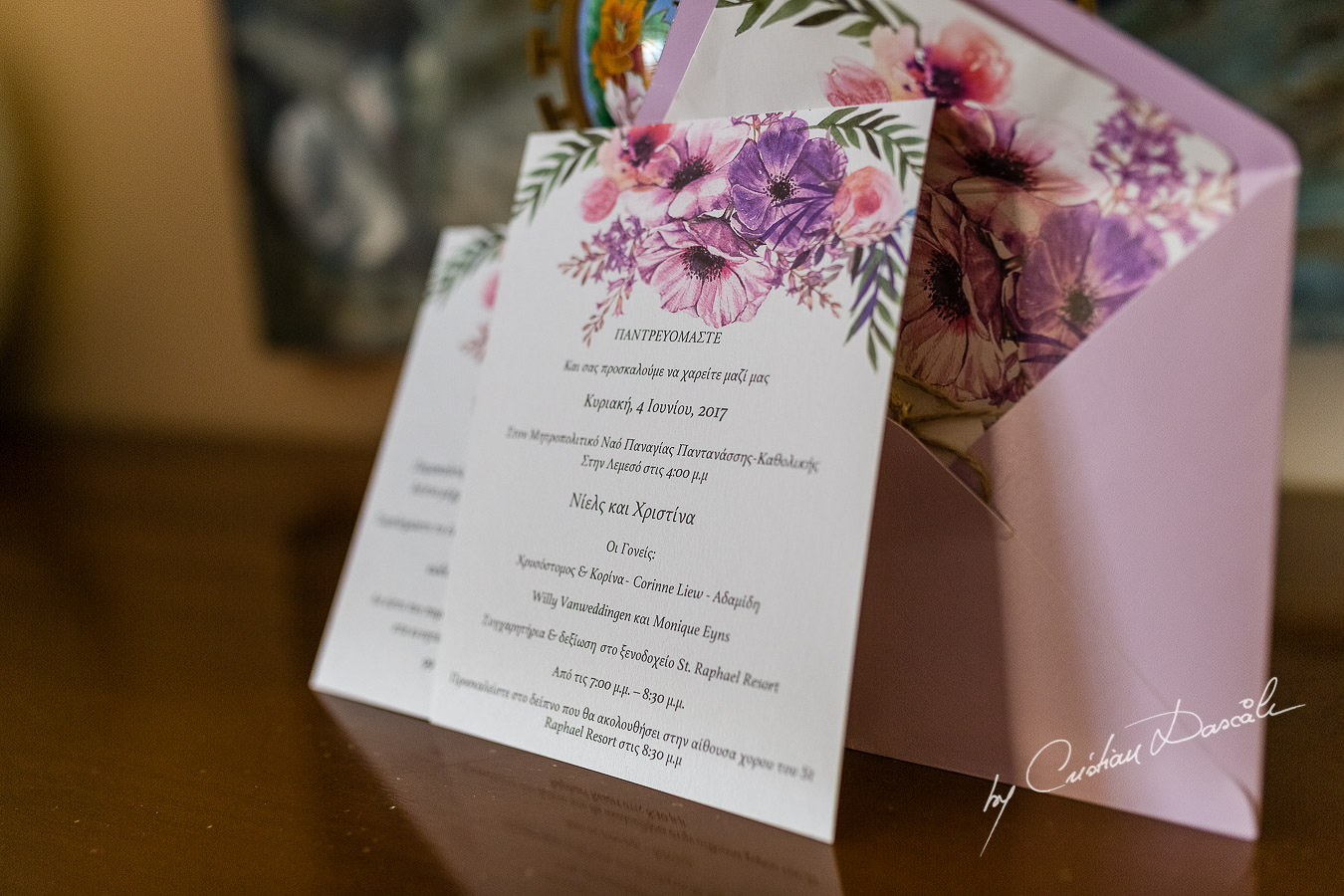Beautiful Wedding Invitation photographed by Cristian Dascalu during a wedding ceremony at St Raphael Hotel in Limassol, Cyprus.