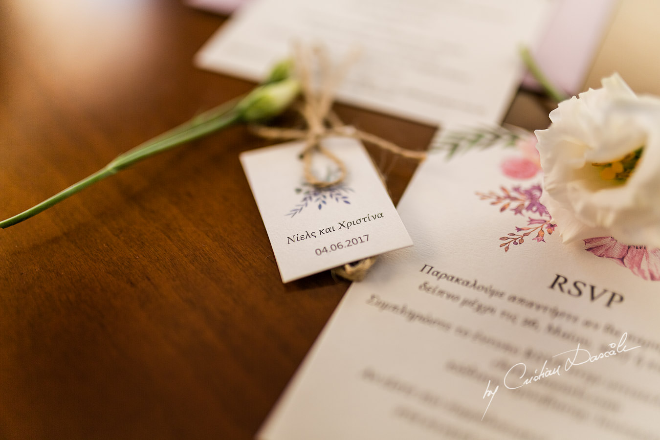 Beautiful Wedding details photographed by Cristian Dascalu during a wedding ceremony at St Raphael Hotel in Limassol, Cyprus.