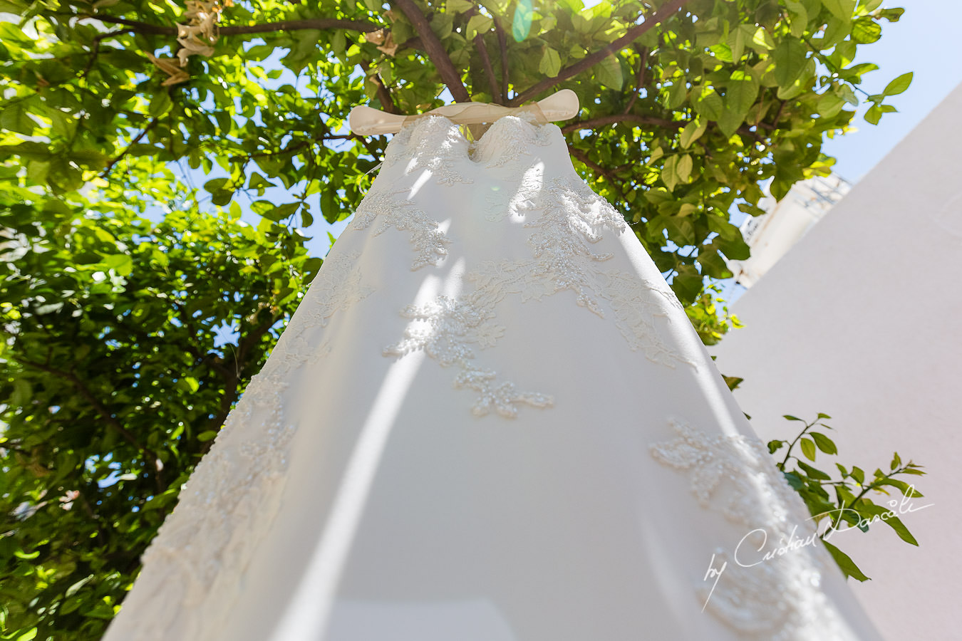 Beautiful Wedding Dress photographed by Cristian Dascalu during a wedding ceremony at St Raphael Hotel in Limassol, Cyprus.