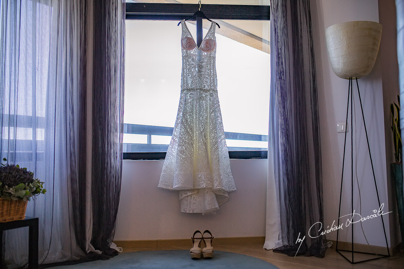 The Wedding dress captured during a wedding photography at the Lighthouse Limassol, by Cyprus Photographer Cristian Dascalu.