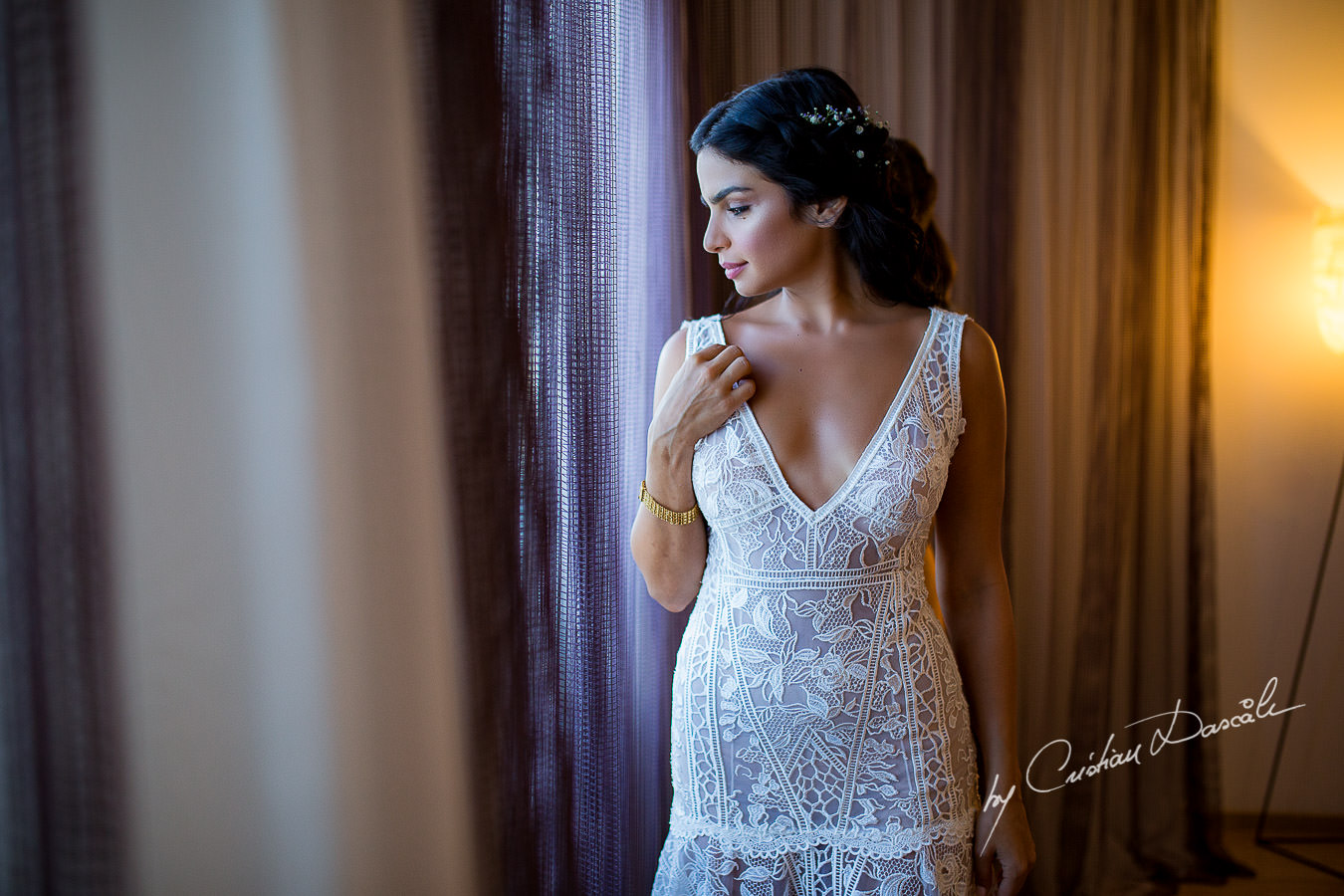 Beautiful Bridal Portrait captured during a wedding photography at the Lighthouse Limassol, by Cyprus Photographer Cristian Dascalu.