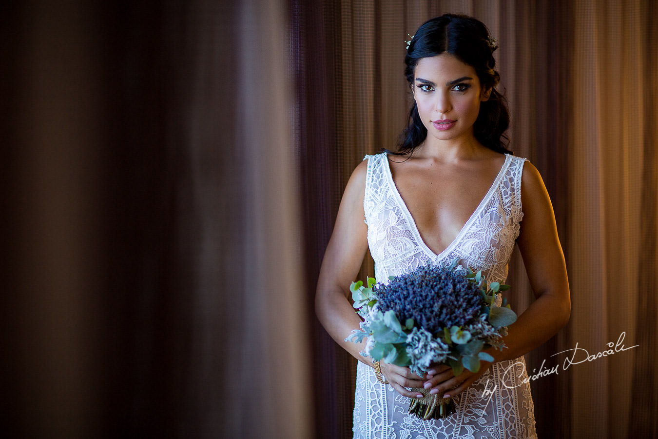 Bridal portrait captured during a wedding photography at the Lighthouse Limassol, by Cyprus Photographer Cristian Dascalu.