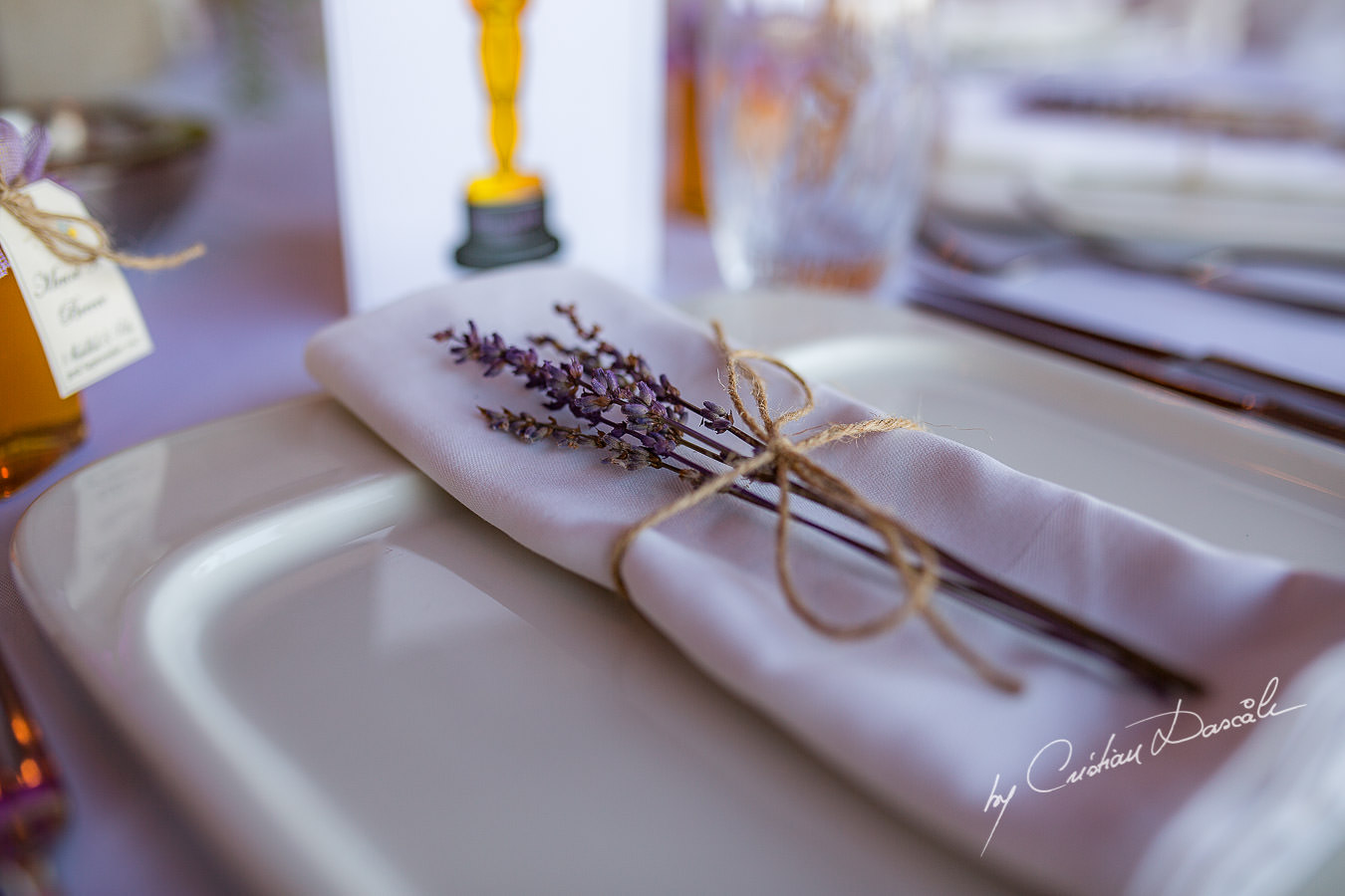 Wedding table details captured during a wedding photography at the Lighthouse Limassol, by Cyprus Photographer Cristian Dascalu.