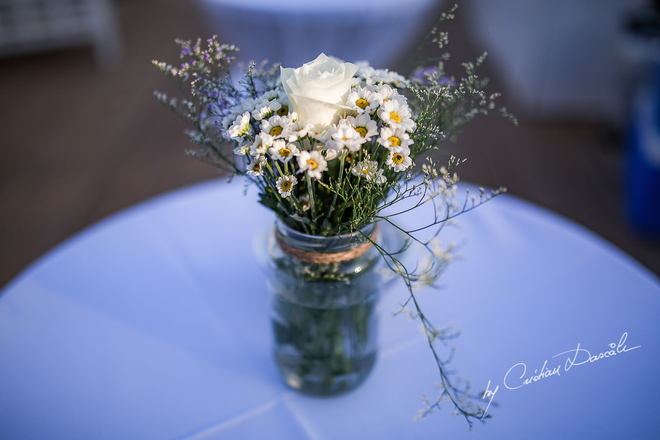 Wedding floral details captured during a wedding photography at the Lighthouse Limassol, by Cyprus Photographer Cristian Dascalu.