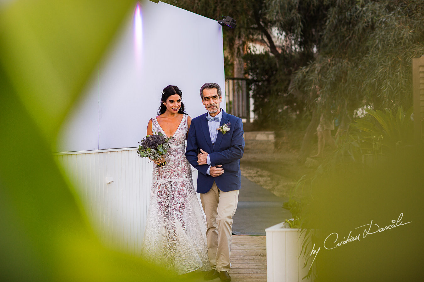 The bride's arrival captured during a wedding photography at the Lighthouse Limassol, by Cyprus Photographer Cristian Dascalu.