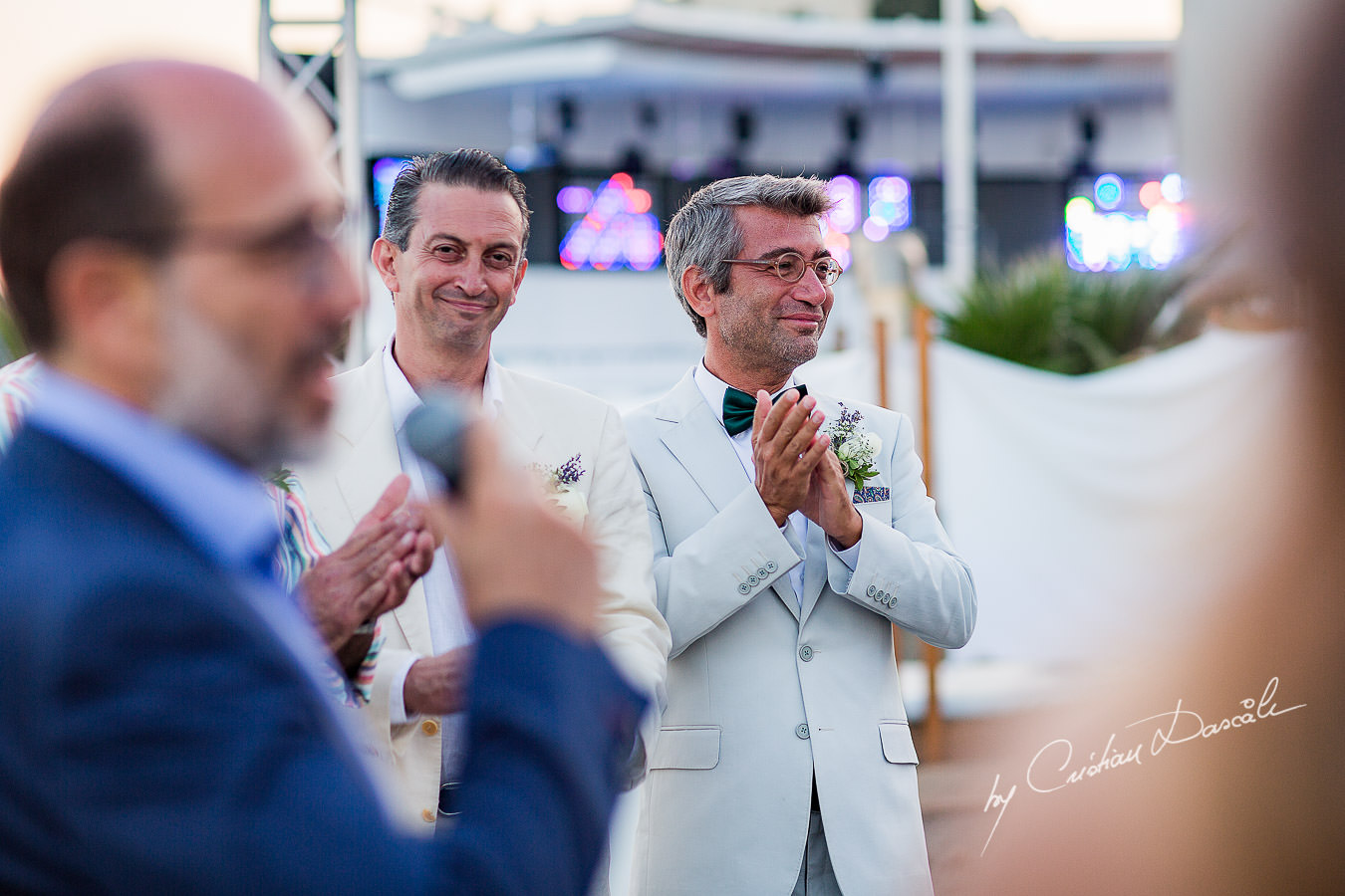 The best man welcoming the bride, moments captured during a wedding photography at the Lighthouse Limassol, by Cyprus Photographer Cristian Dascalu.
