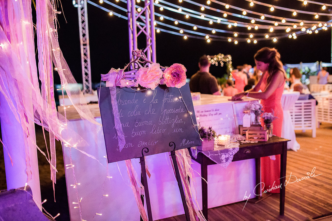 Wedding details by night captured during a wedding photography at the Lighthouse Limassol, by Cyprus Photographer Cristian Dascalu.