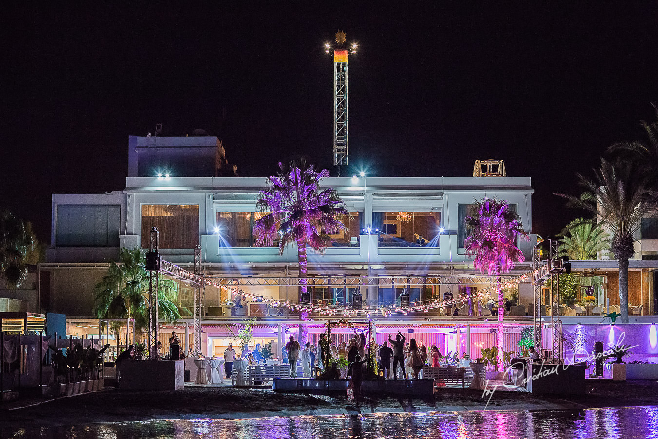 Wedding venue during the party captured during a wedding photography at the Lighthouse Limassol, by Cyprus Photographer Cristian Dascalu.
