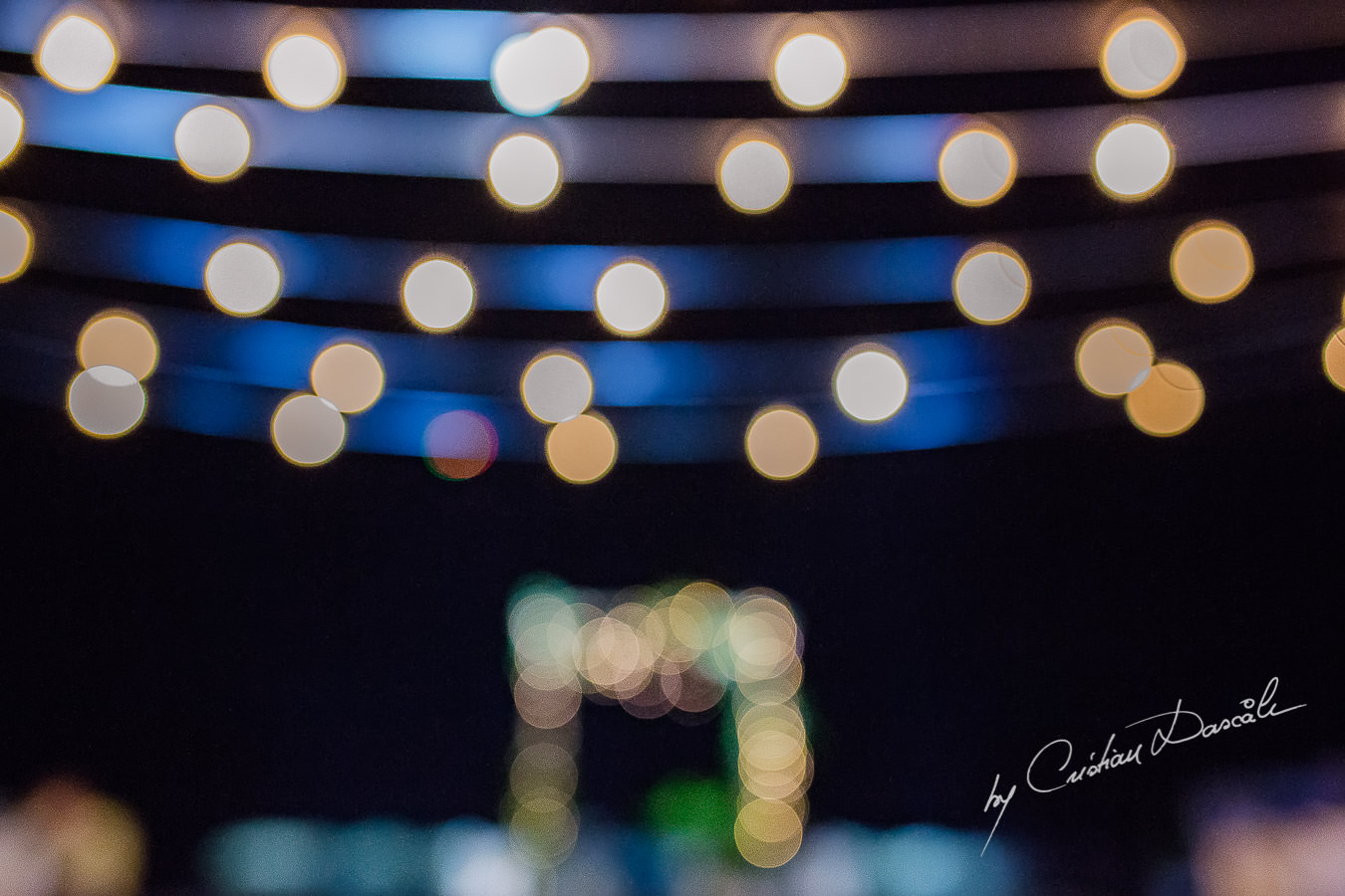 Wedding venue details by night captured during a wedding photography at the Lighthouse Limassol, by Cyprus Photographer Cristian Dascalu.