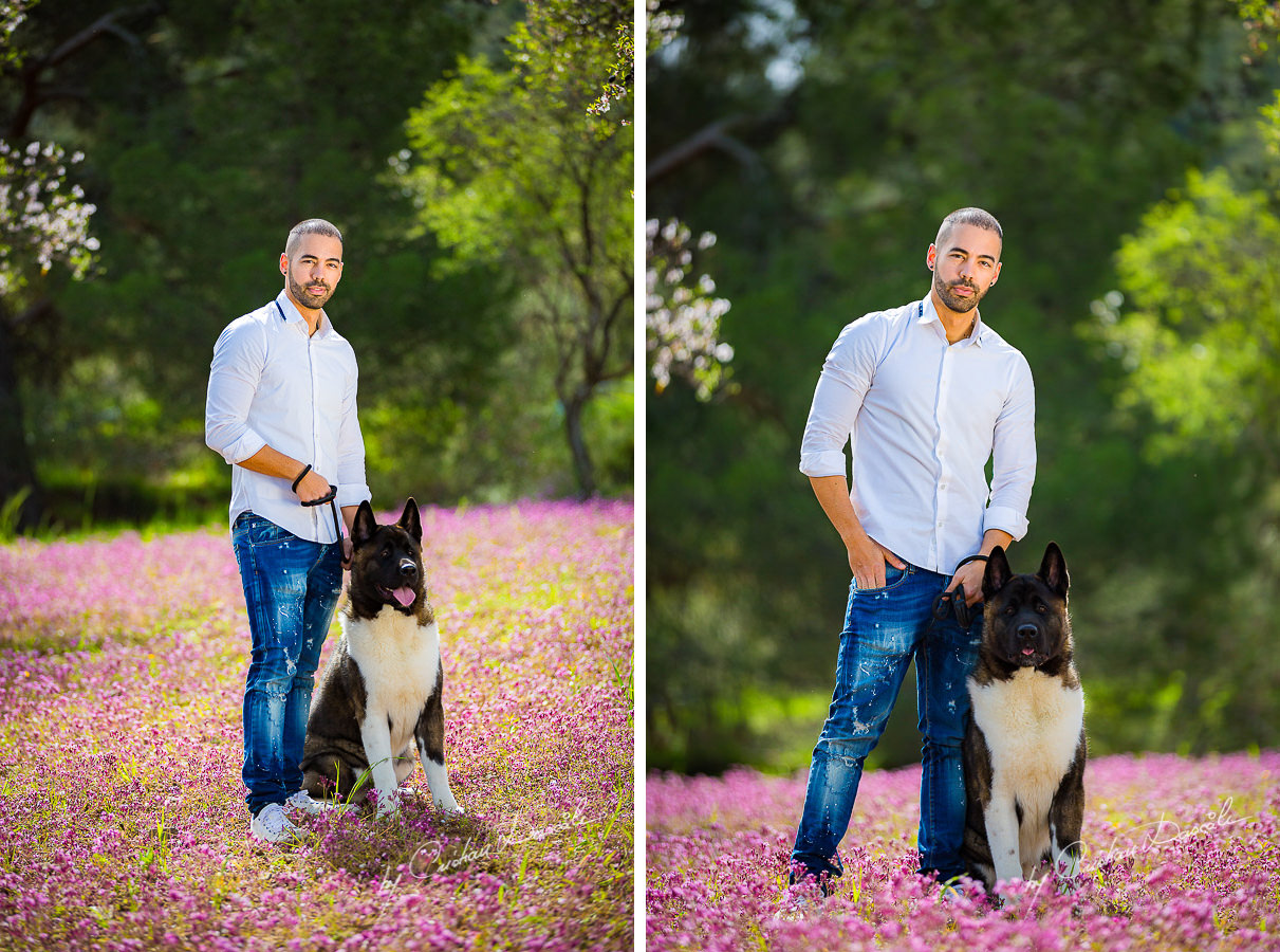Chris and his Akita dog photographed in Klirou village, Nicosia district, during an amazing family photography in Nicosia by Cyprus Photographer Cristian Dascalu.