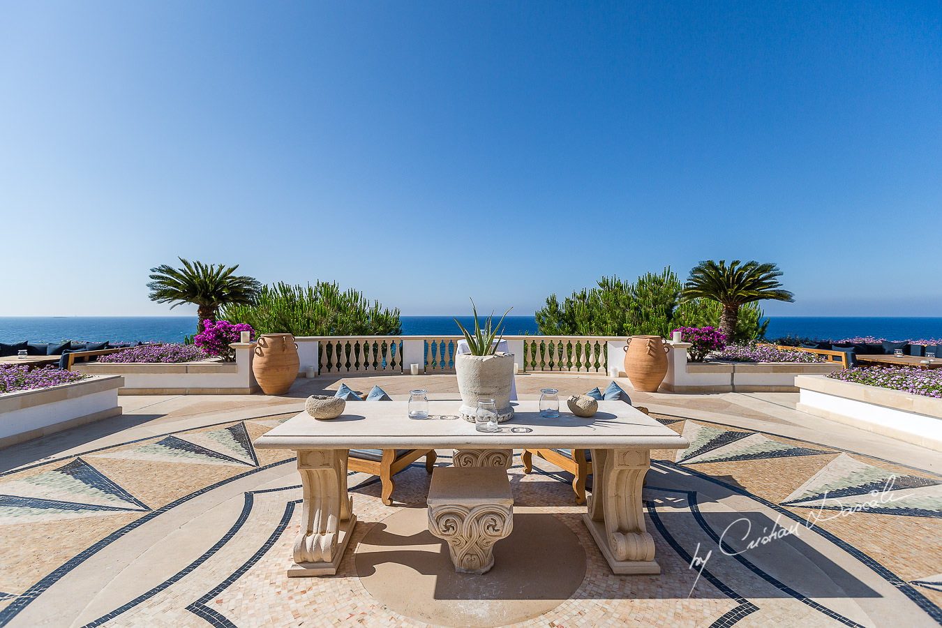 The terrace of the beautiful Anassa Hotel photographed by Cyprus Photographer Cristian Dascalu.