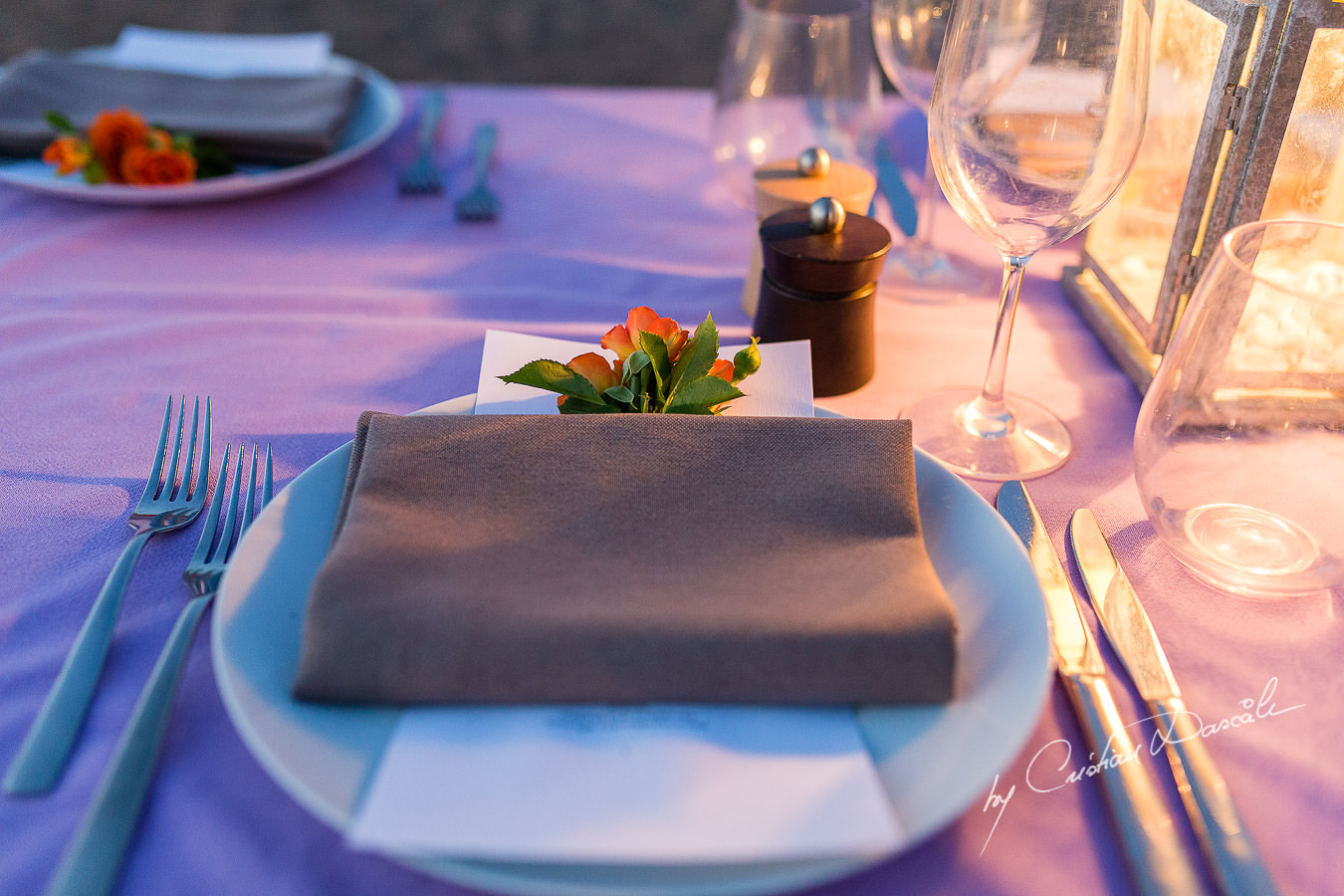 Table details at the beautiful Anassa Hotel photographed by Cyprus Photographer Cristian Dascalu.
