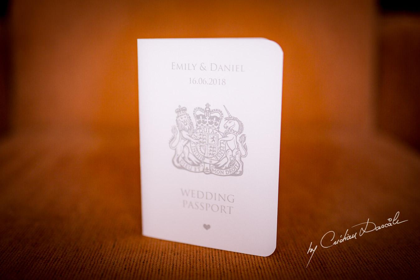 Wedding Passport at a Beautiful Wedding at Elias Beach Hotel captured by Cyprus Photographer Cristian Dascalu.