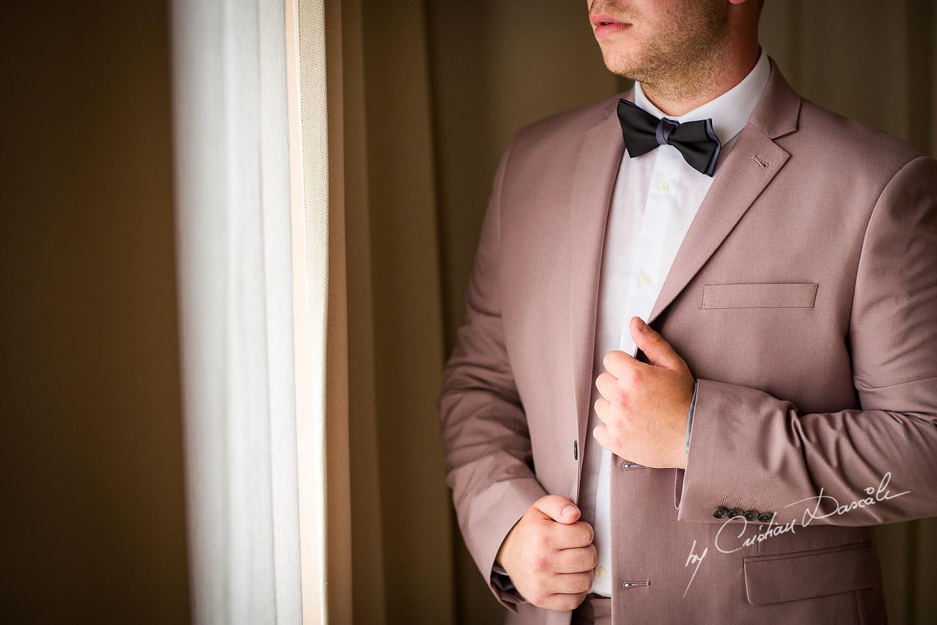 Groom portraiture at a Beautiful Wedding at Elias Beach Hotel captured by Cyprus Photographer Cristian Dascalu.