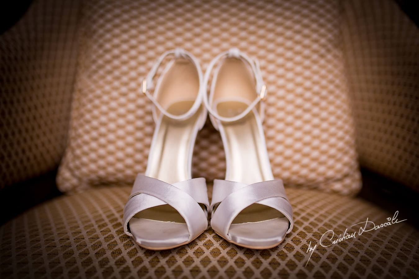 Bridal Shoes details at a Beautiful Wedding at Elias Beach Hotel captured by Cyprus Photographer Cristian Dascalu.