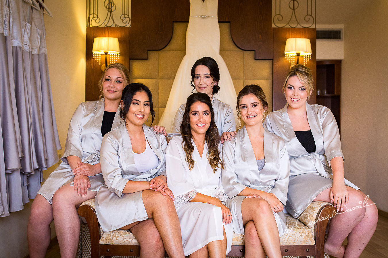 Bride and Bridal Party during a Beautiful Wedding at Elias Beach Hotel captured by Cyprus Photographer Cristian Dascalu.