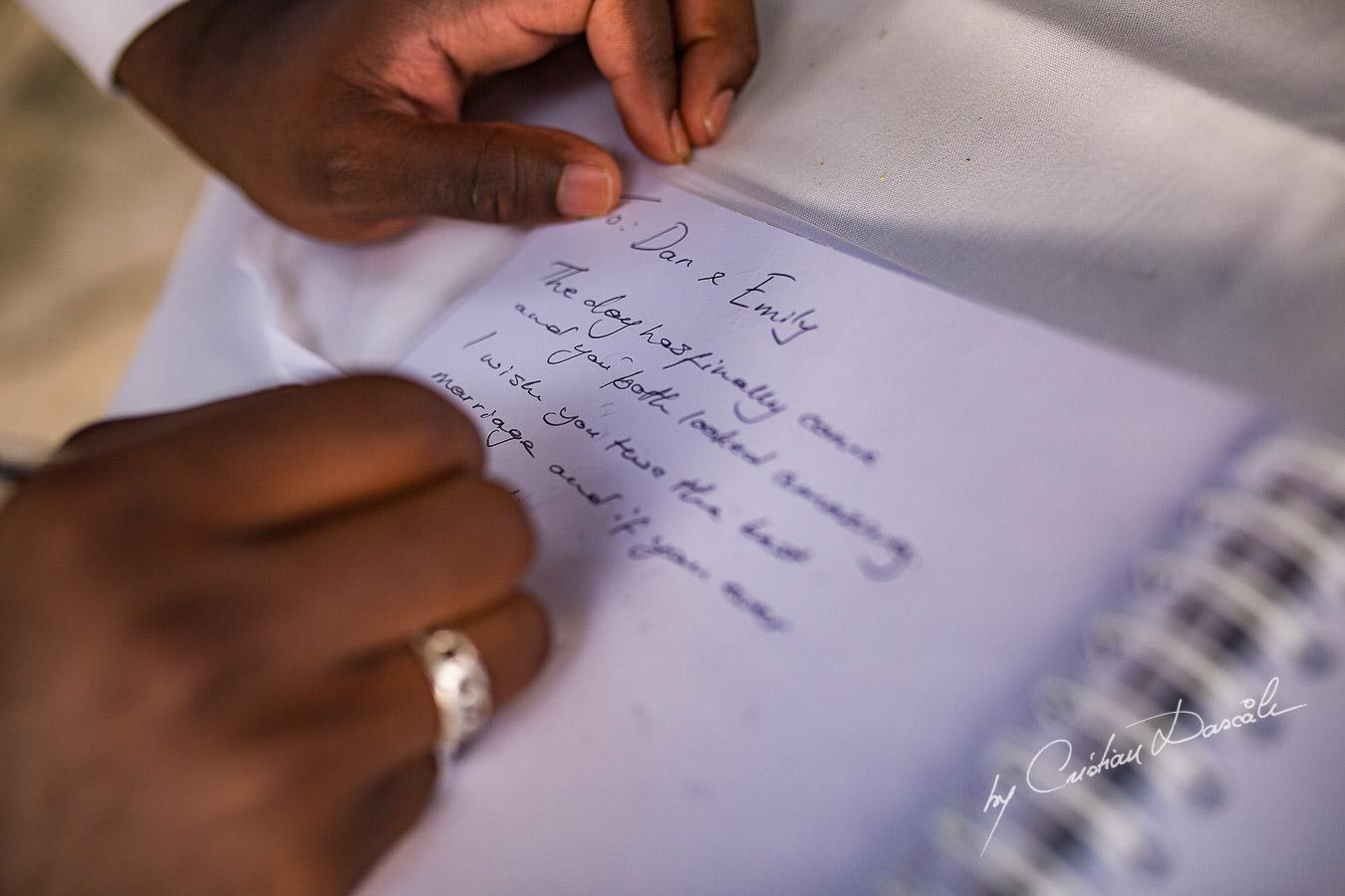 Wedding moments during a Beautiful Wedding at Elias Beach Hotel captured by Cyprus Photographer Cristian Dascalu.