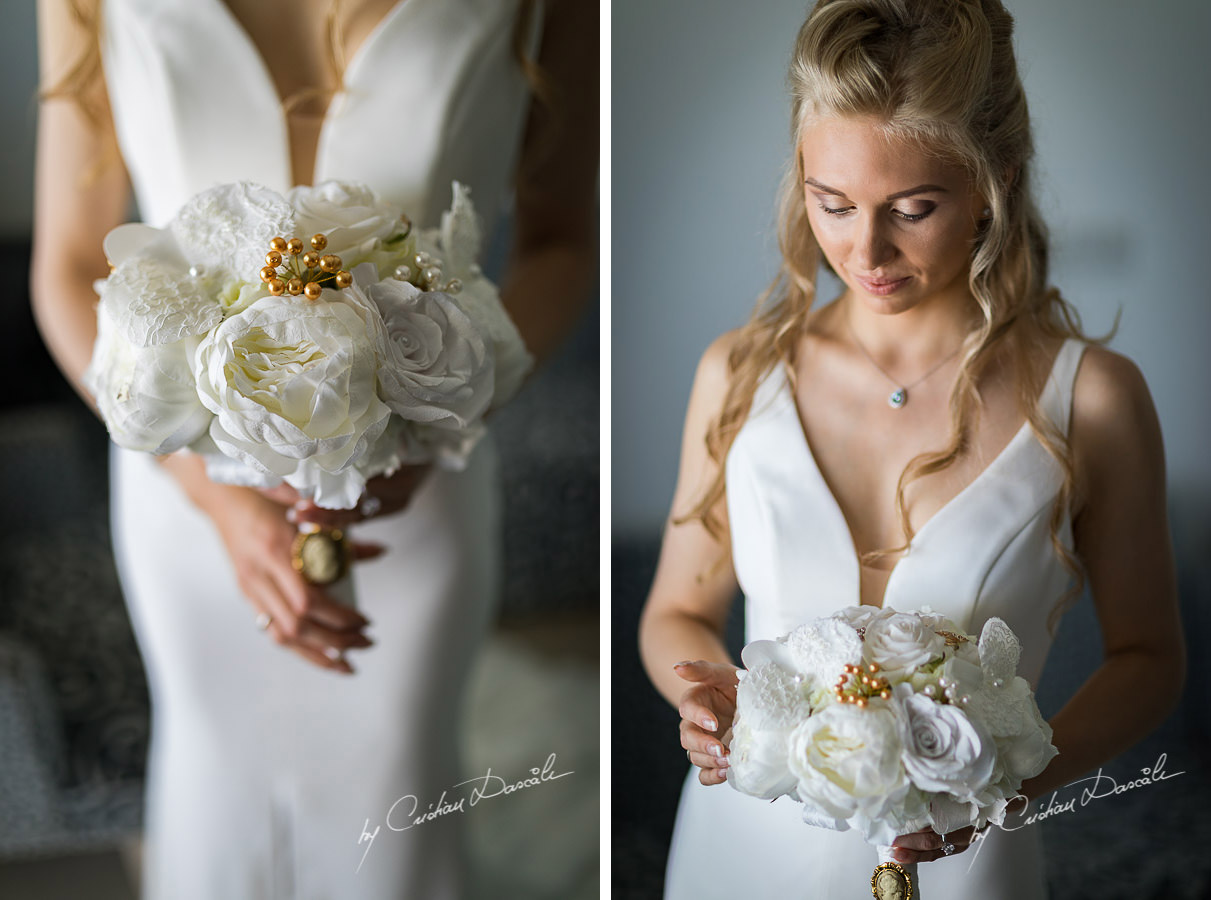 Fine art bridal portraits, moments captured during an Exquisite Wedding at Asterias Beach Hotel. Photography by Cyprus Photographer Cristian Dascalu.