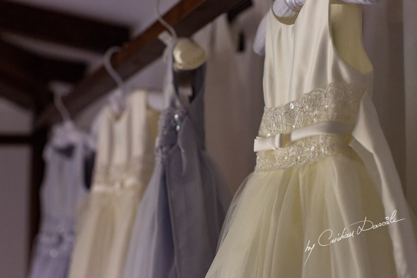 Wedding dresses captured at a Vasilias Nikoklis Inn Wedding in Paphos. Cyprus Wedding Photography by Cristian Dascalu.