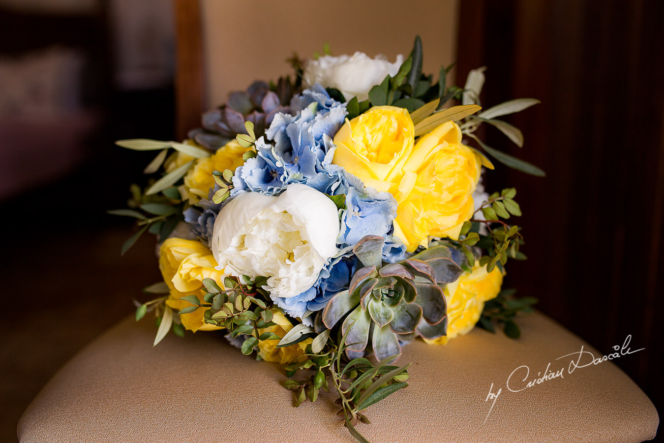 Wedding flowers captured at a Vasilias Nikoklis Inn Wedding in Paphos. Cyprus Wedding Photography by Cristian Dascalu.