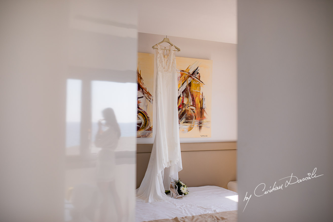 Bridal Dress photographed by Cyprus Photographer Cristian Dascalu during a beautiful wedding at Cap St. George in Paphos.