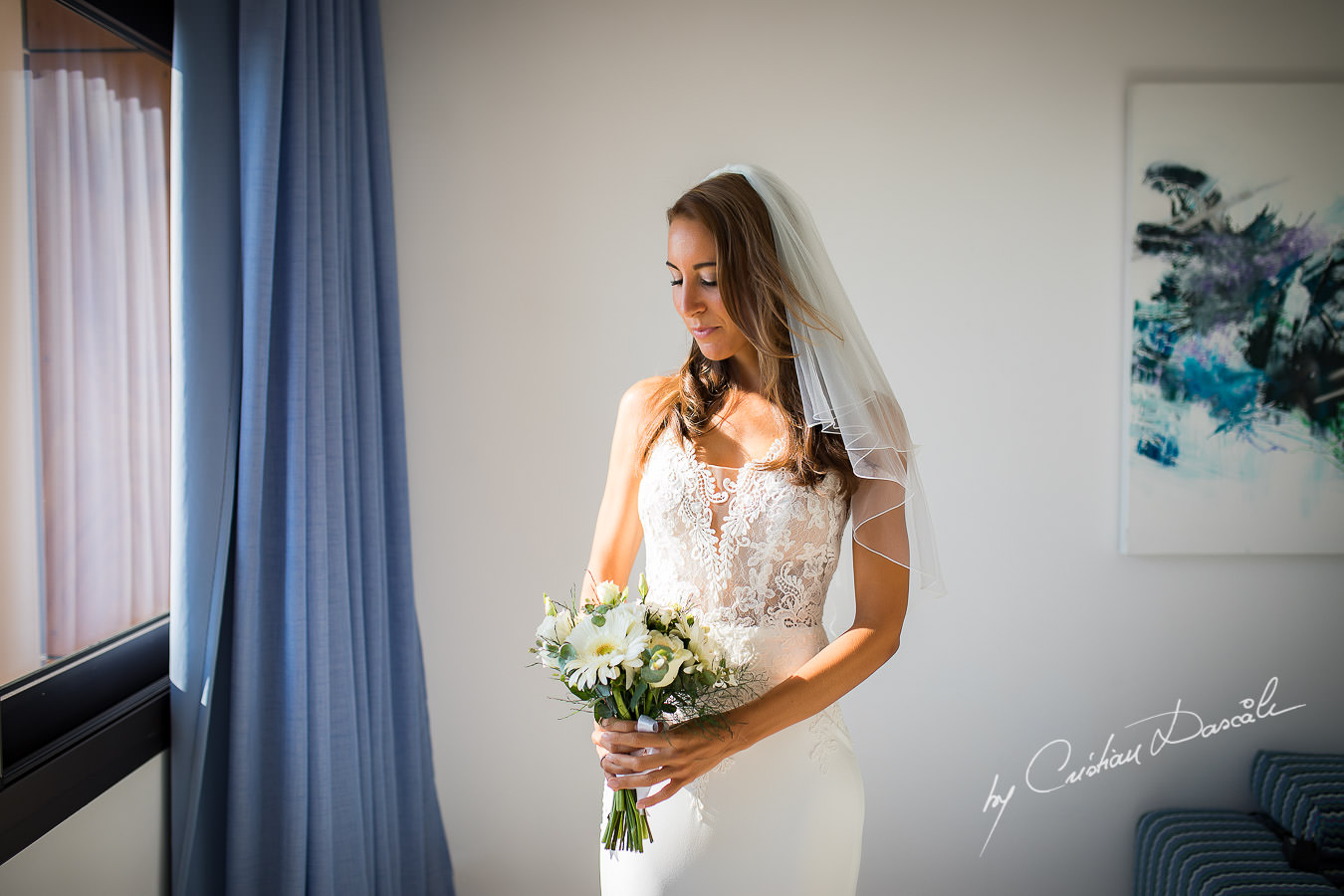 Moments with the beautiful bride Simone photographed by Cyprus Photographer Cristian Dascalu during a beautiful wedding at Cap St. George in Paphos.