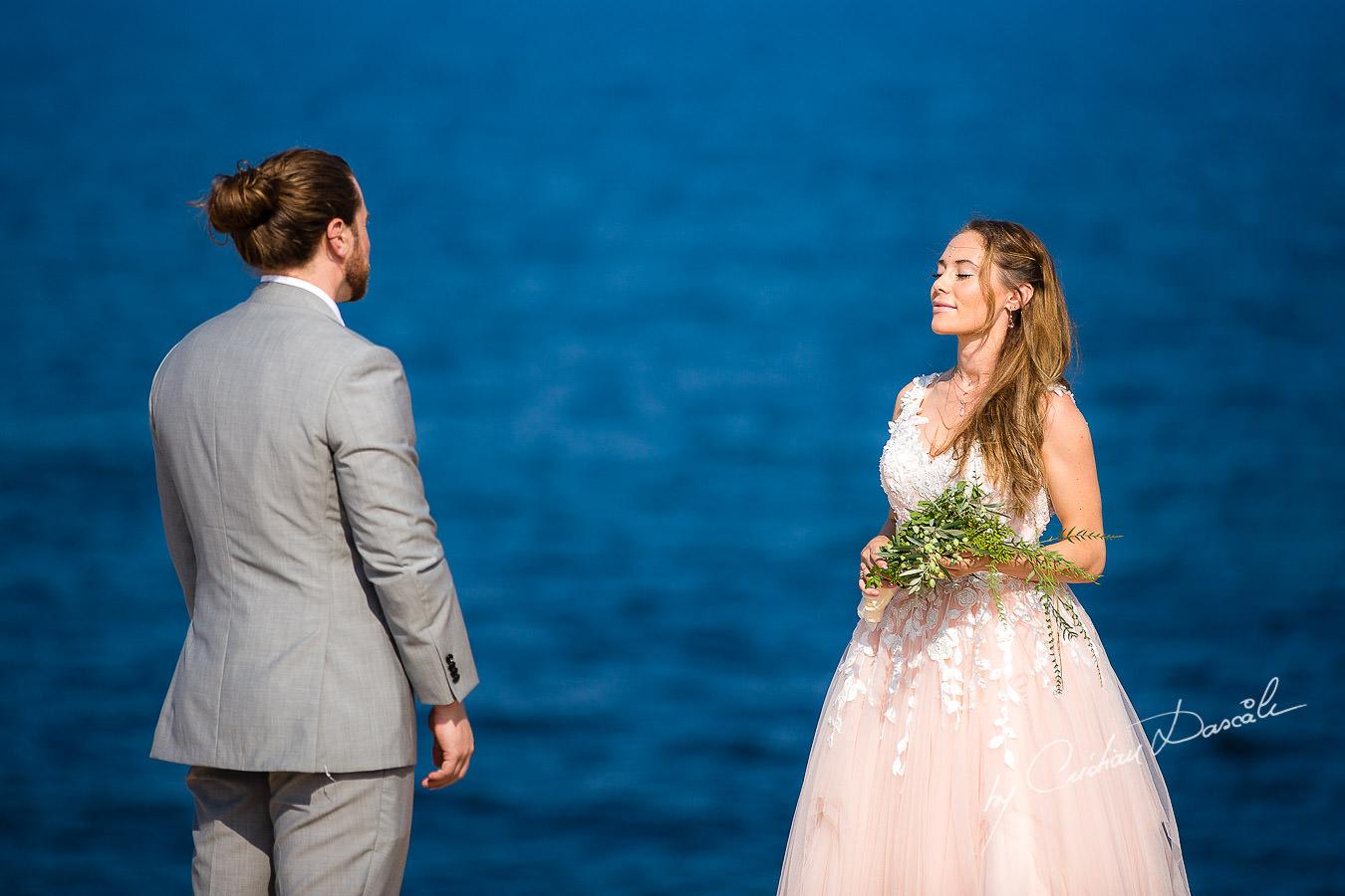 Bride and Groom during Wedding Ceremony, captured at a Shamanic Wedding Ceremony by Cyprus Wedding Photographer Cristian Dascalu.