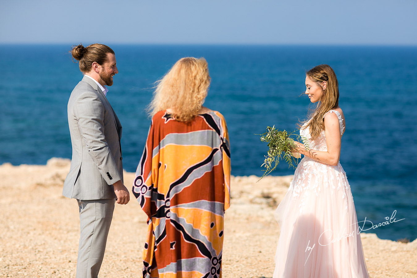 The bride and groom changing vows, moments captured at a Shamanic Wedding Ceremony by Cyprus Wedding Photographer Cristian Dascalu.