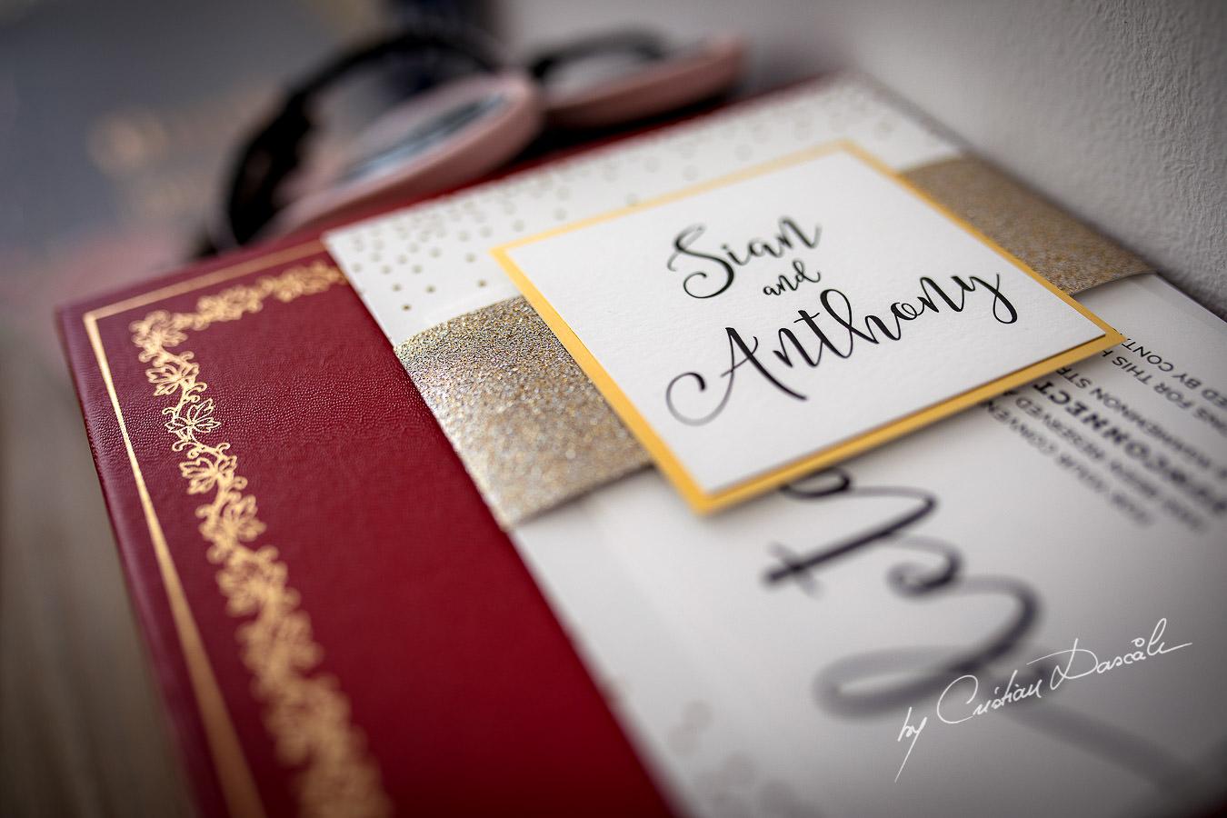 A wedding invitation captured by Cristian Dascalu during an elegant Aphrodite Hills Wedding in Cyprus.
