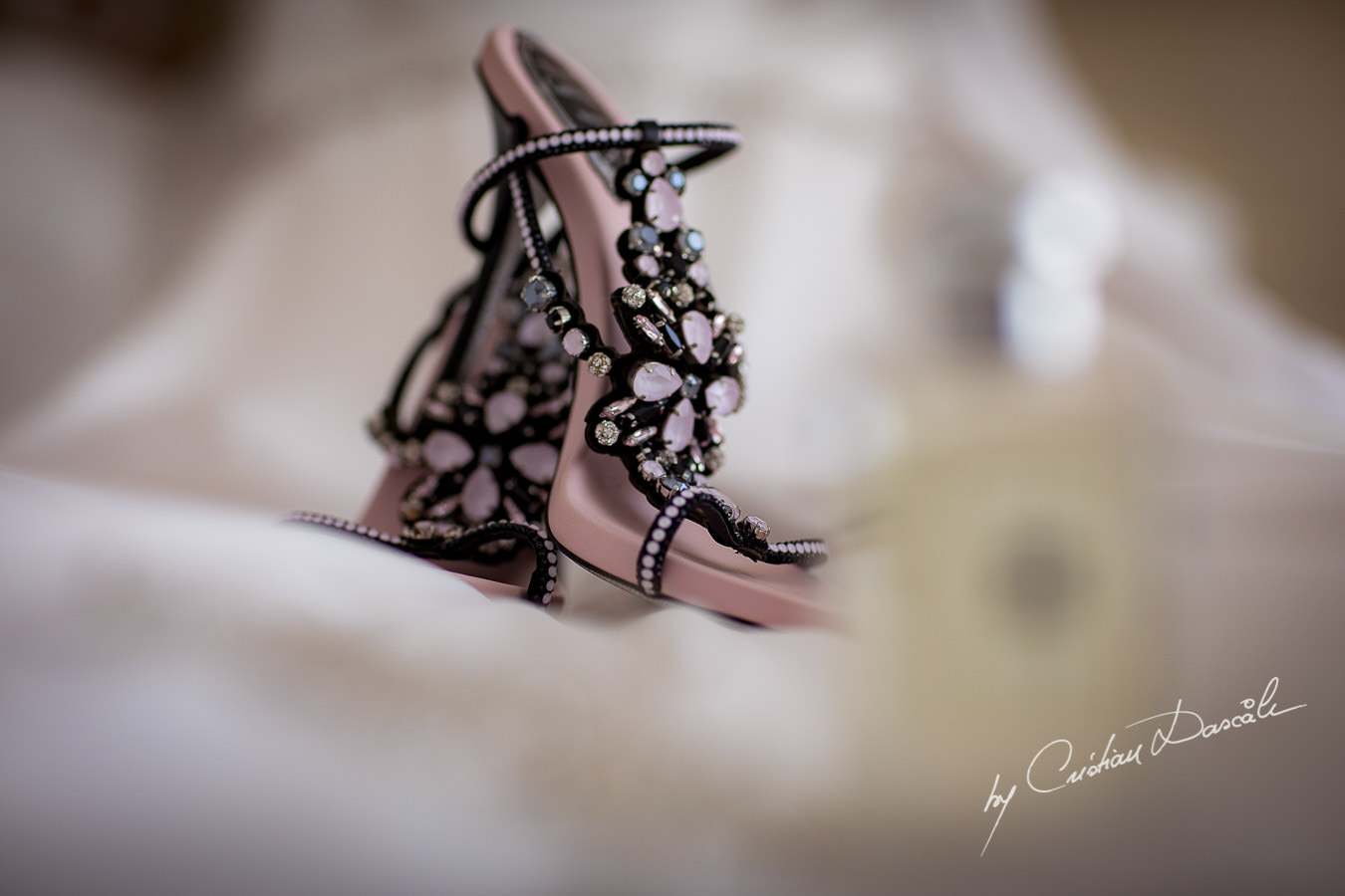 Bridal shoes by Rene Caovilla captured by Cristian Dascalu during an elegant Aphrodite Hills Wedding in Cyprus.