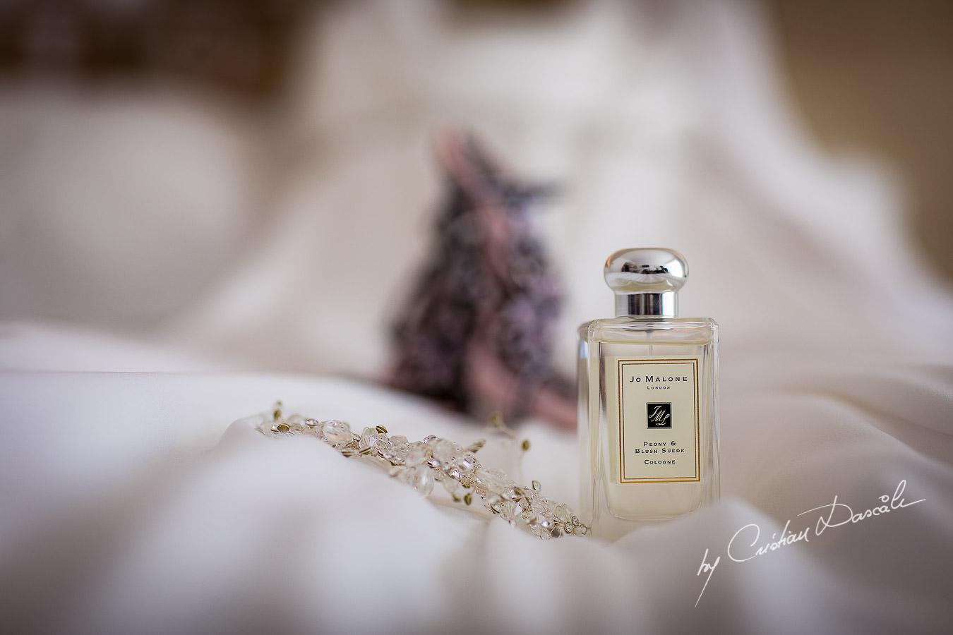 Bridal perfume by Jo Malone captured by Cristian Dascalu during an elegant Aphrodite Hills Wedding in Cyprus.