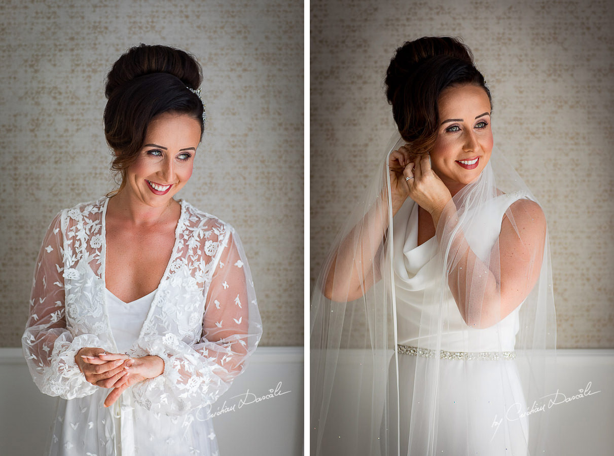 Beautiful bride getting ready moments captured by Cristian Dascalu during an elegant Aphrodite Hills Wedding in Cyprus.