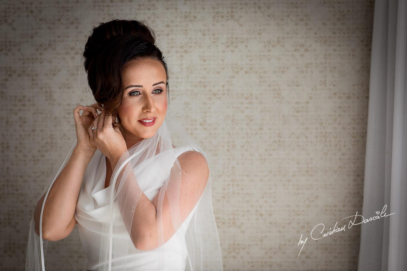 Stunning bridal portrait captured by Cristian Dascalu during an elegant Aphrodite Hills Wedding in Cyprus.