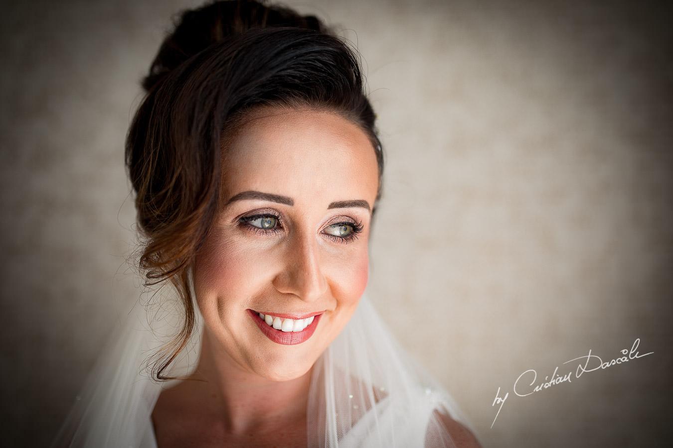 Lovely bridal portrait captured by Cristian Dascalu during an elegant Aphrodite Hills Wedding in Cyprus.