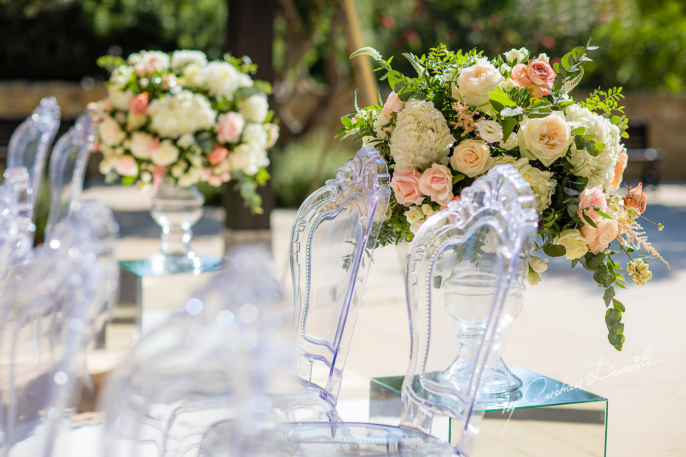 Beautiful wedding flowers captured by Cristian Dascalu during an elegant Aphrodite Hills Wedding in Cyprus.