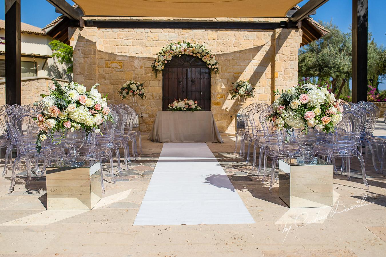 Lovely wedding setup captured by Cristian Dascalu during an elegant Aphrodite Hills Wedding in Cyprus.