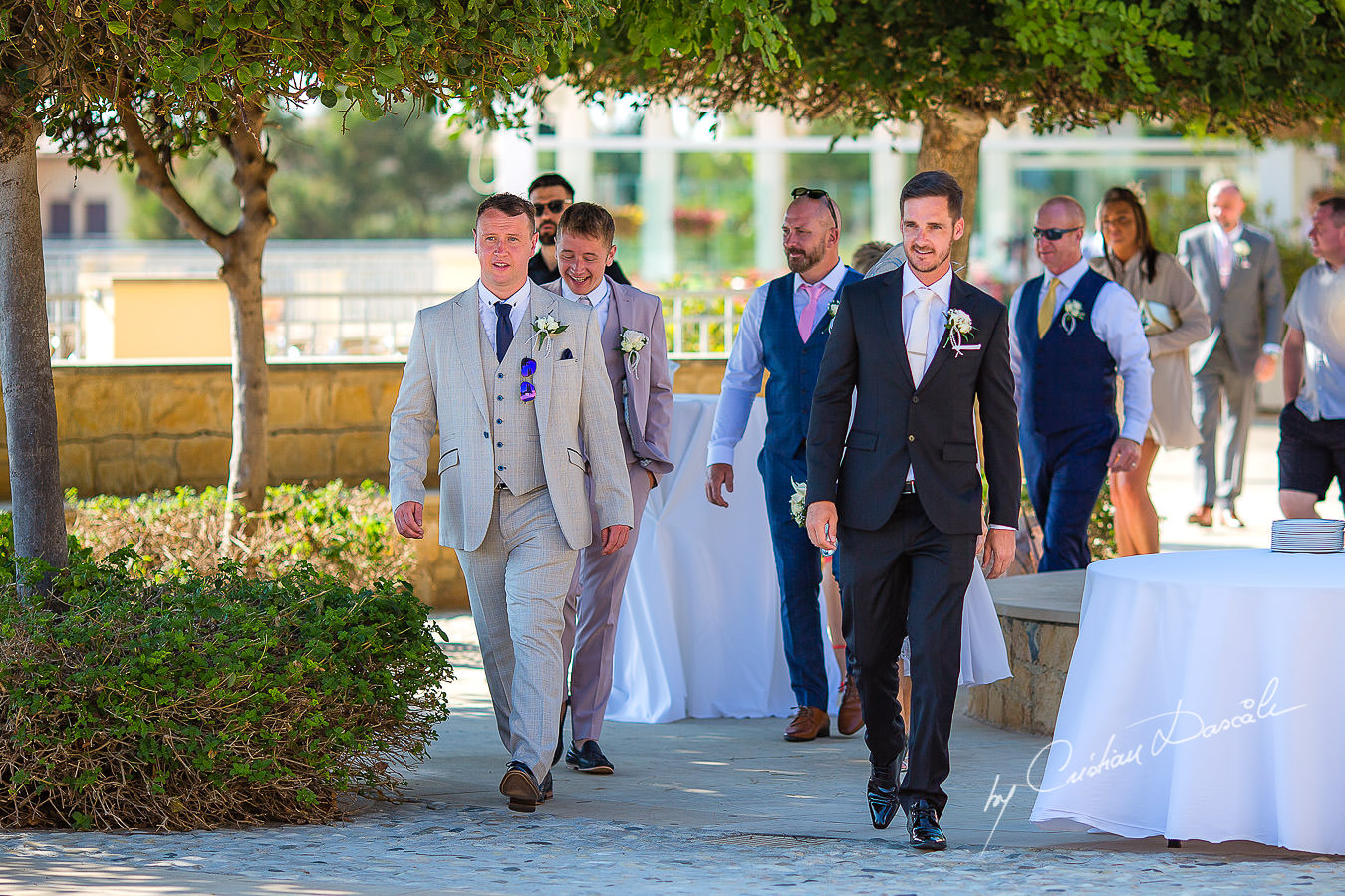 Groom arrival, moments captured by Cristian Dascalu during an elegant Aphrodite Hills Wedding in Cyprus.