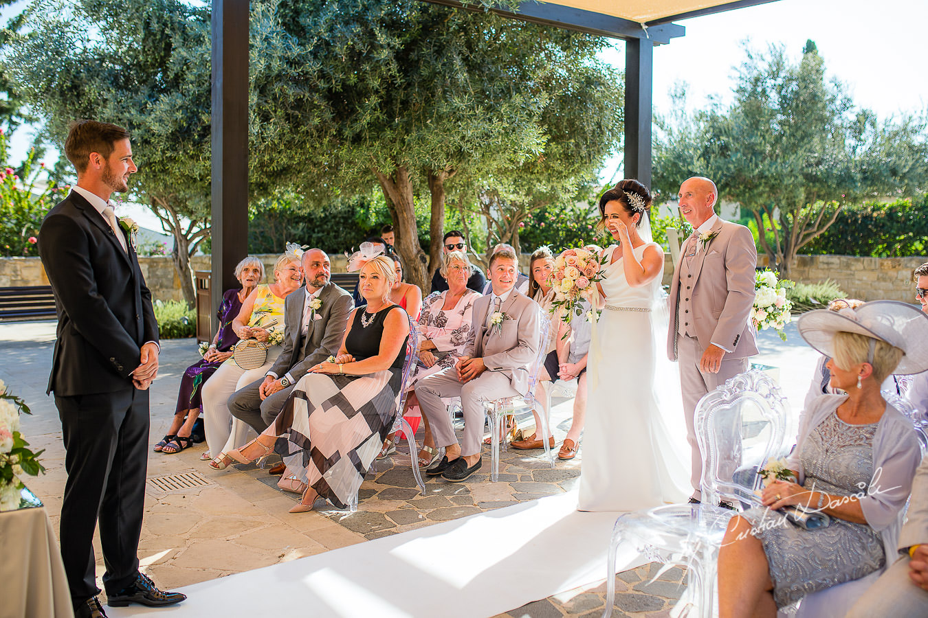 The first look between the bride and groom, moments captured by Cristian Dascalu during an elegant Aphrodite Hills Wedding in Cyprus.